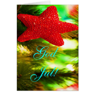 Christmas God Jul Red Star Greeting Card