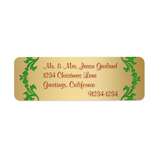 Christmas Gold Foil Look Return Address Labels