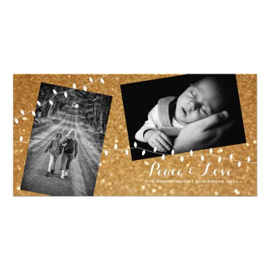 Christmas Gold Glam Glitter Peace Love Photo Card