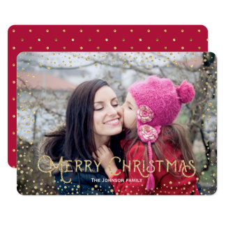 Christmas | Gold | Glitter Dots | Photo Card