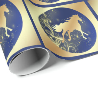 Christmas Gold Horse On Blue In Gold Squares LG Wrapping Paper
