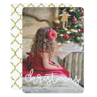 Christmas Gold Look Quatrefoil Add Photo and Name Card