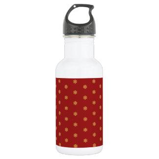 Christmas gold snowflake pattern, customizable BG 532 Ml Water Bottle