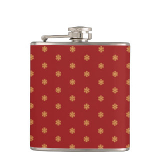 Christmas gold snowflake pattern, customizable BG Hip Flask