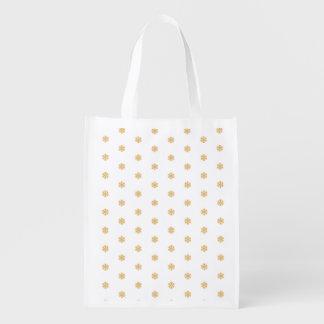 Christmas gold snowflake pattern, customizable BG Reusable Grocery Bag