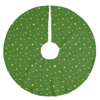 Christmas Gold Stars on Green Tree Skirt Brushed Polyester Tree Skirt