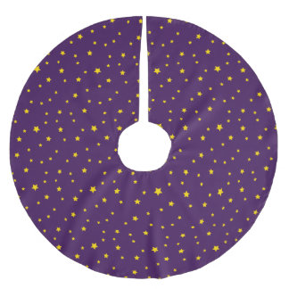 Christmas Gold Stars on Purple Tree Skirt Brushed Polyester Tree Skirt