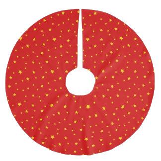 Christmas Gold Stars on Red Tree Skirt Brushed Polyester Tree Skirt