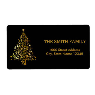 Christmas Gold Tree with Black Background Shipping Label