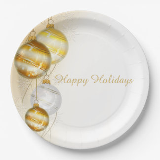 Christmas Gold White Ball Ornaments Paper Plate
