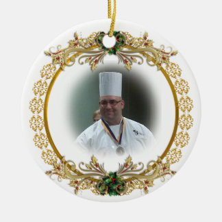 Christmas gold wreath Photo ornament, Ceramic Ornament