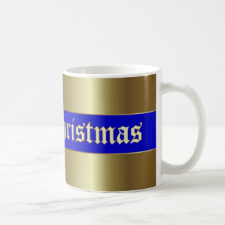 Christmas Golden Blue Stripe Mug