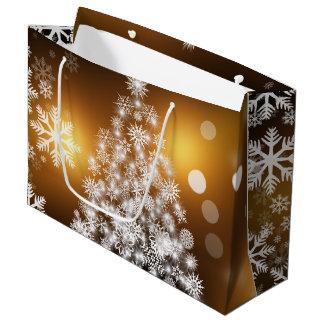 Christmas Golden Bokeh Snowflake Tree Large Gift Bag