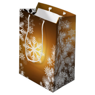 Christmas Golden Bokeh Snowflake Tree Medium Gift Bag