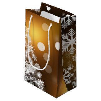 Christmas Golden Bokeh Snowflake Tree Small Gift Bag
