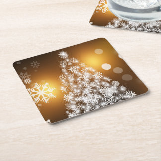 Christmas Golden Bokeh Snowflake Tree Square Paper Coaster