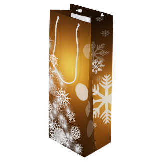 Christmas Golden Bokeh Snowflake Tree Wine Gift Bag