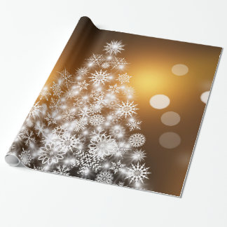 Christmas Golden Bokeh Snowflake Tree Wrapping Paper