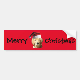 Christmas Golden Retriever Bumper Sticker