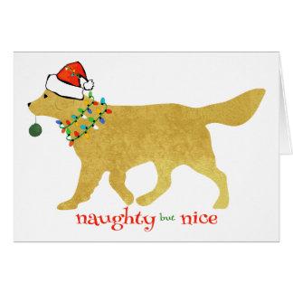 Christmas Golden Retriever Naughty but Nice Card
