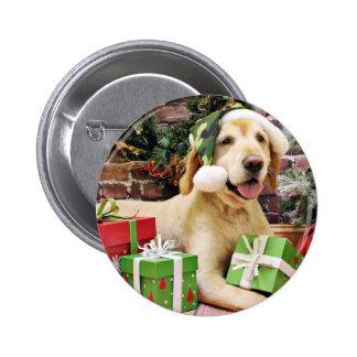 Christmas - Golden Retriever - Tucker Pinback Button