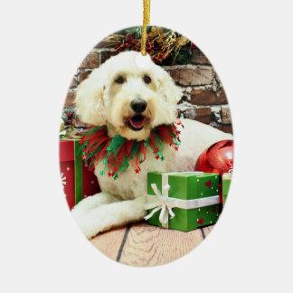 Christmas - GoldenDoodle - Biscuit Ceramic Ornament