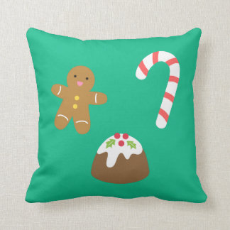 Christmas Goodies, Gingerbread Man, Candy, Pudding Throw Pillow