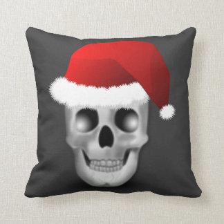 Christmas Goth Skull Santa Claus Throw Pillow