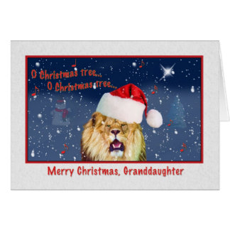 Christmas, Granddaughter, Lion in Santa Hat Card