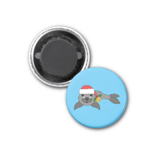 Christmas Gray Seal with Santa Hat & Gold Bell 1 Inch Round Magnet