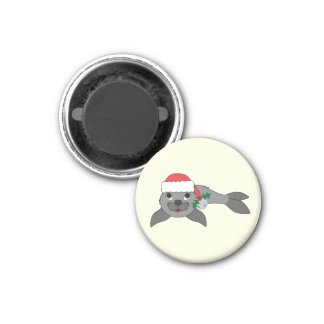 Christmas Gray Seal with Santa Hat & Silver Bell 1 Inch Round Magnet