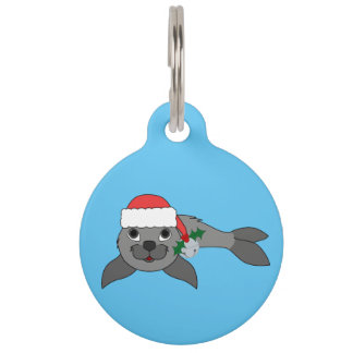 Christmas Gray Seal with Santa Hat & Silver Bell Pet Name Tag