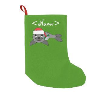 Christmas Gray Seal with Santa Hat & Silver Bell Small Christmas Stocking