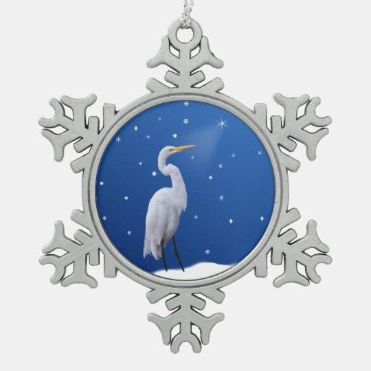 Christmas, Great Egret, Star Pewter Snowflake Ornament