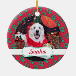 Christmas - Great Pyrenees - Sophie Ceramic Ornament