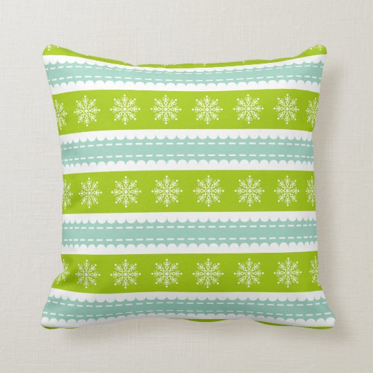 Christmas Green and Blue Stripes With Snowflakes Throw Pillow