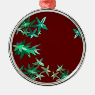 Christmas Green and Red Foliage Print Metal Ornam Silver-Colored Round Ornament