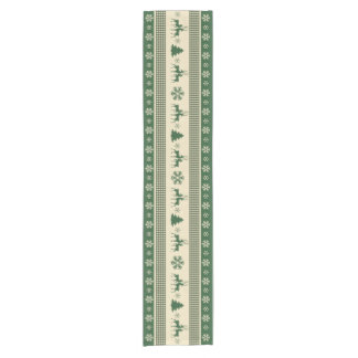 """Christmas green and white table runner 14"""" x 72"""""""