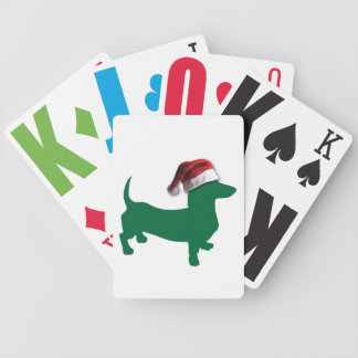 Christmas Green Dachshund Bicycle Playing Cards
