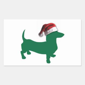 Christmas Green Dachshund Rectangular Stickers