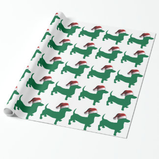 Christmas Green Dachshund Wrapping Paper