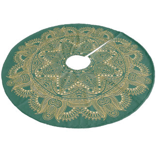 Christmas Green Faux Gold Mandala Star Pattern Fleece Tree Skirt
