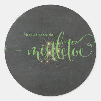 Christmas Green Meet Me Under The Mistletoe Classic Round Sticker
