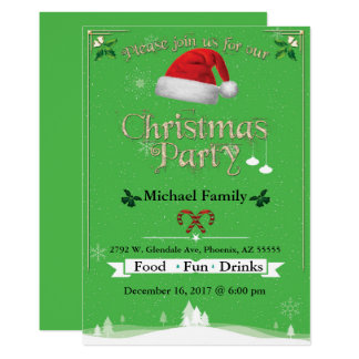Christmas Green Party Invitation