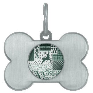 Christmas Green Quilt Pet Tag