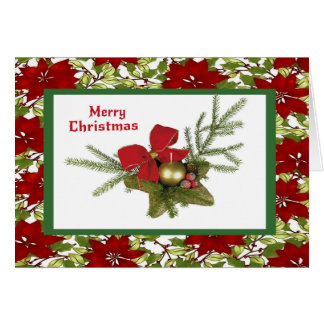 Christmas Greenery on Poinsettia Background Card