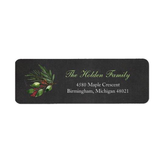 Christmas Greenery Return Address Label