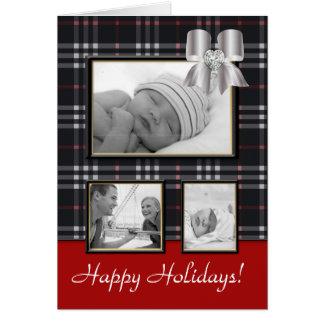 Christmas Greeting Card Burberry Plaid Bow Black