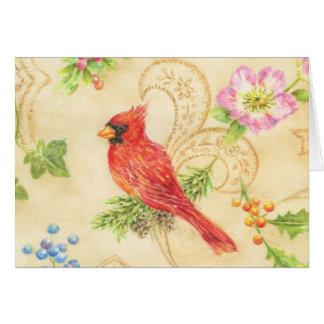 Christmas Greeting Card Cardinal Vintage Style