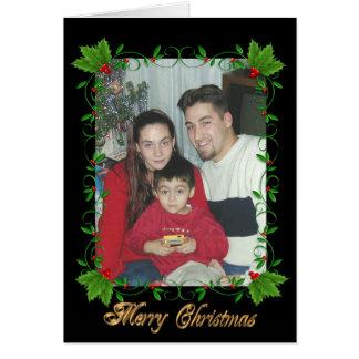Christmas greeting card holly frame on black